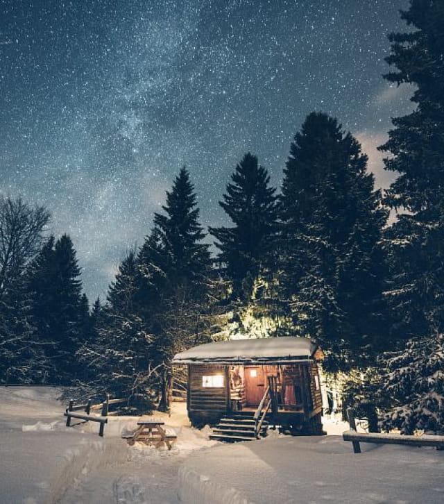 Les loges du Coinchet une nuit d'hiver