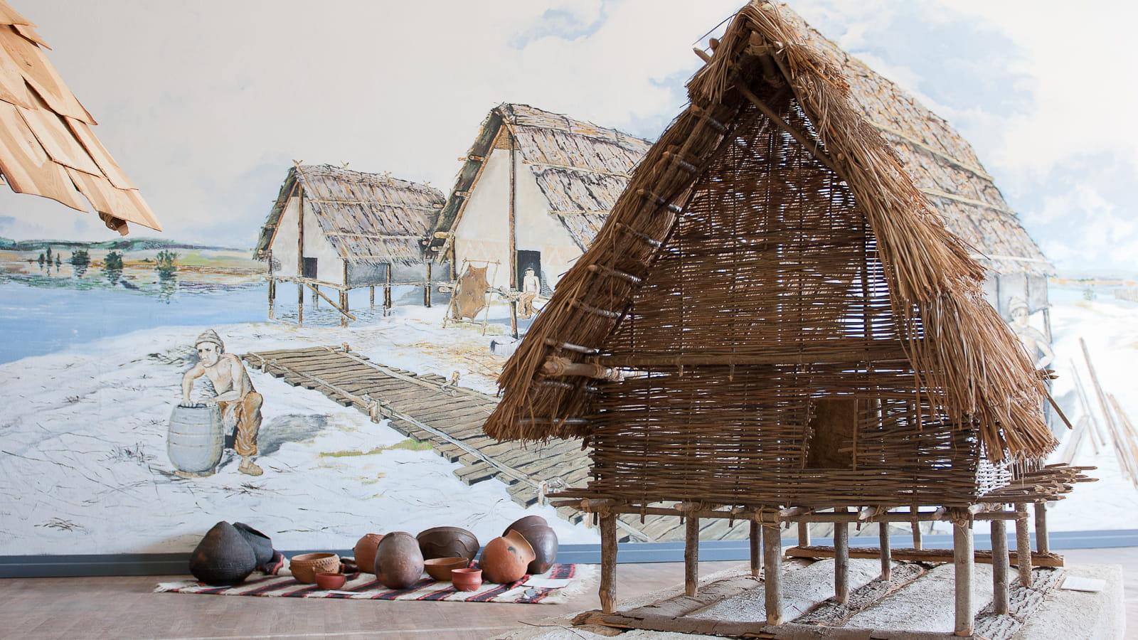 Reconstitution d'un habitat sur pilotis à l'espace archéologique de Clairvaux