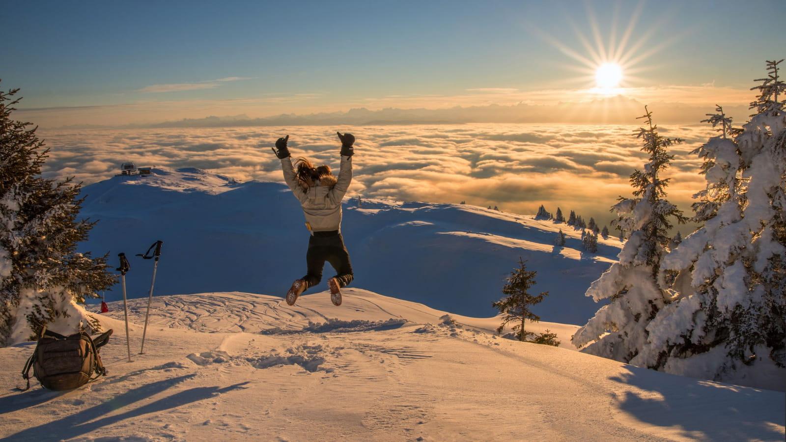 Coucher de soleil depuis le sommet de Monthoisey