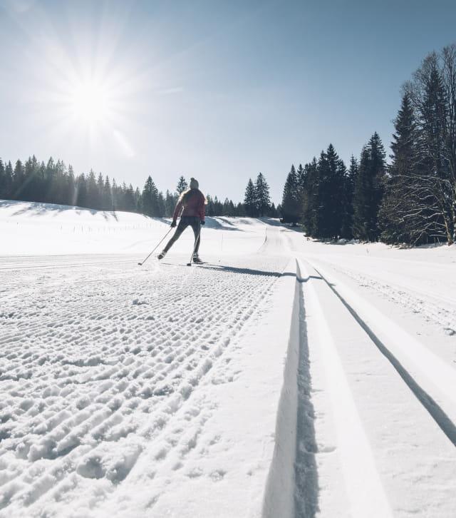 Skieuse à ski nordique à la station des Monts Jura