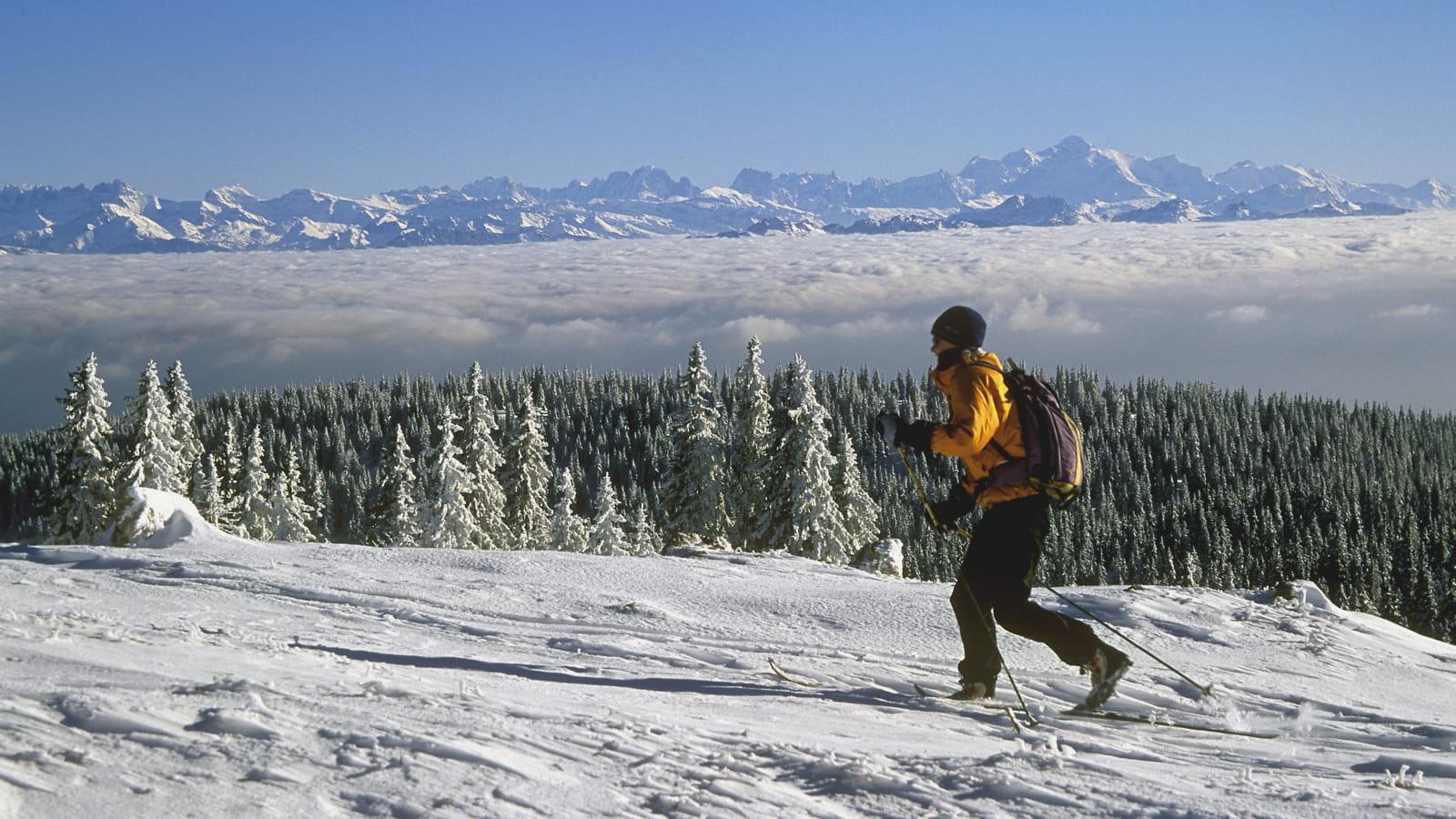Vue panoramique sur la chaîne des Alpes depuis le sommet du Mont d'Or