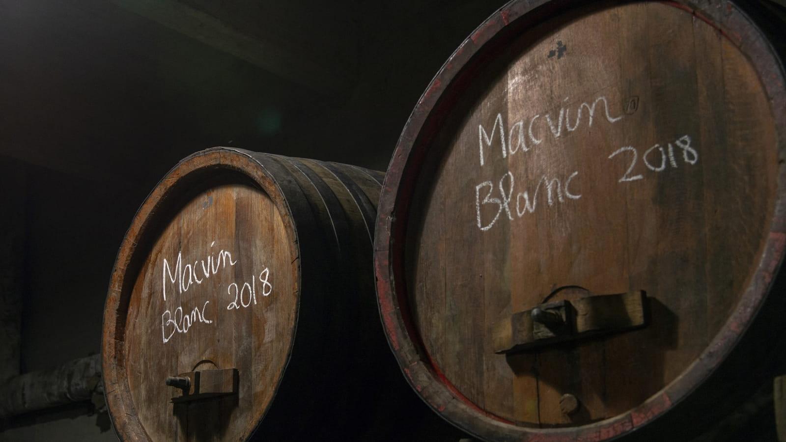 Tonneau de Macvin dans une Fruitière vinicole d'Arbois