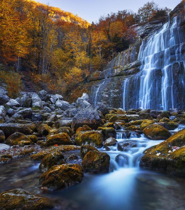 Cascade du Hérisson en automne