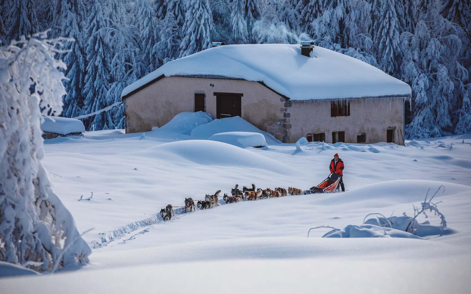 Expedition polaire en traineau dans le massif du Jura